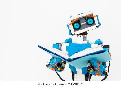 November, 2017. Minsk, Belarus.  STEM education. Lego Boost Robot Vernie. Robotics class for child and teen. School.  Mathematics. Chemistry. Engineering. Science. Best toy of the year. Mock up.