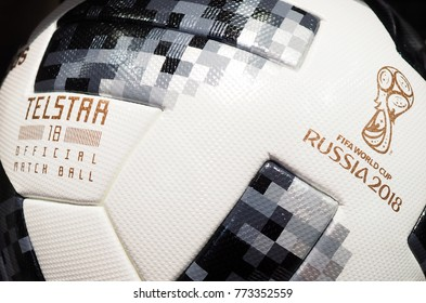 November, 2017 Moscow, Russia. The official ball of the 2018 World Cup in summer in Russia Adidas Telstar 18.