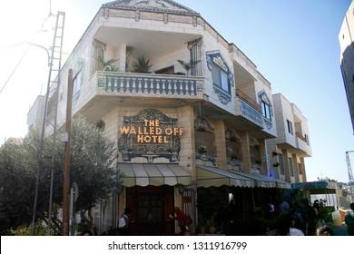 """NOVEMBER 2018 - BETHLEHEM: the  """"Walled off """"-Hotel by the british straet artist Banksy, Westbank, Palestine."""