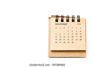 November 2018 calendar isolated on white background