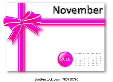 November 2018 - Calendar series with gift ribbon design