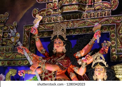November 2018, Goddess Durga at puja Mandap, Coochbehar India. Durga Pujo also known as Durgotasava and Dussehra. Festival of West Bengal.