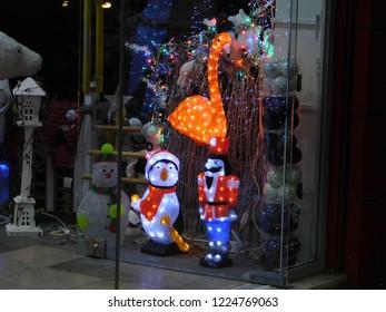 November 2018, Greece.  A Christmas items shop vitrine