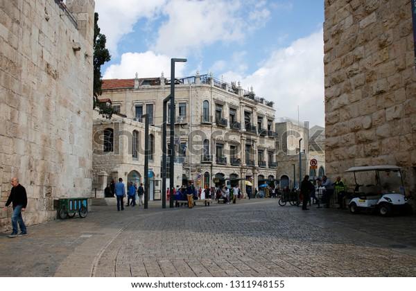 November 2018 Jerusalem Street Scene Jaffa Stock Photo (Edit