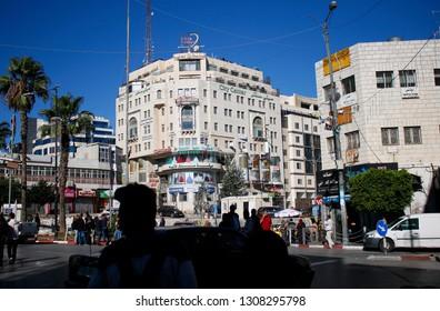 NOVEMBER 2018 - RAMALLAH: street scene, Manarah Square, Ramallah, Westbank, Palestine.