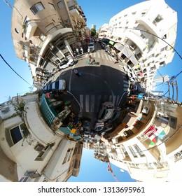 NOVEMBER 2018 - TEL AVIV: full circle-Panorama: street scene, Florentine, Israel.