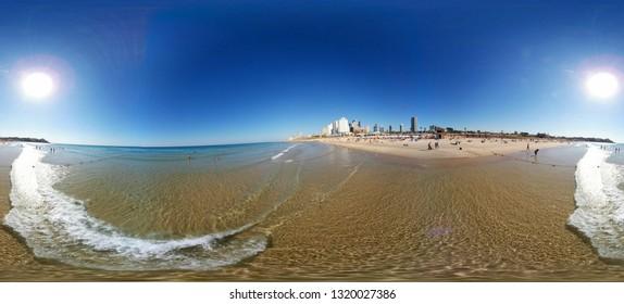 NOVEMBER 2018 - TEL AVIV:  Panorama: beach, Mediterranean Sea, Israel.