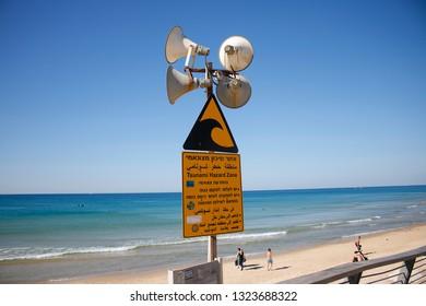 NOVEMBER 2018 - TEL AVIV: Tsunami warning system, Mediterranean Sea, Israel.