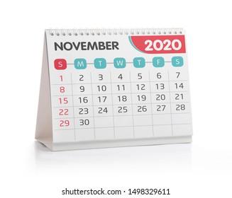 November 2020 Desktop Calendar Isolated on White