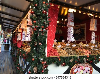 November 21 2015. Nottingham Market square, UK. Annual Christmas market opens with numerous local produce outlets including chocolates, preserves, fudge and sausages.
