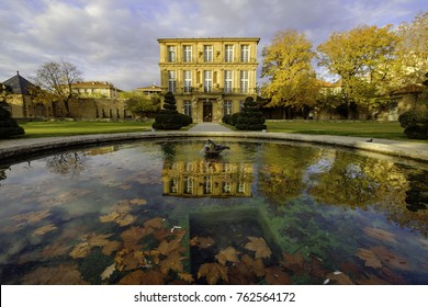 November 22, 2017. Park Vendome, Aix-en-Provence, France. View of the pavilion and the fountain.