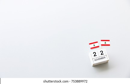 NOVEMBER 22 Wooden calendar Concept independence day of Lebanon and Lebanon national day.top view with space for your text