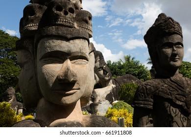 November 23 2016 Vientiane, Laos   Religious statues at Wat Xieng Khuan Buddha park.