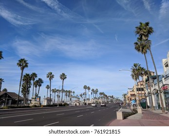 November 23, 2017 - Huntington Beach, California: View of Highway 1 through downtown Huntington Beach on a warm Thanksgiving Day.