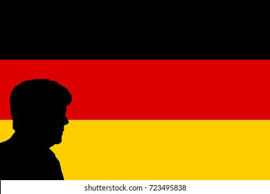 NOVEMBER 23, 2017: An illustration showing the silhouette of German Chancellor Angela Merkel against a German flag background.