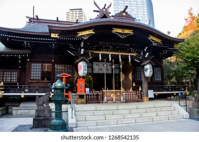 November 23, 2018- Shinjuku Tokyo Japan - Kumano Shrine, Shinjuku, Tokyo, Japan. The traditional religion architect iof Japan