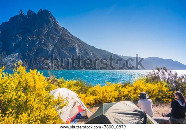 NOVEMBER 24, 2017: Camping at Nahuel Huapi lake, Patagonia - Argentina.
