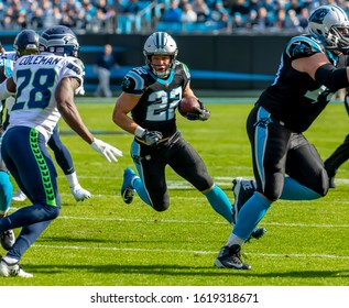 November 25, 2018 - Christian MCCAFFREY (22) runs against the visiting Seattle Seahawks at Bank Of America Stadium in Charlotte, NC.  The Panthers lose to the Seahawks, 30-27.