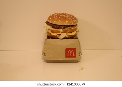 November 25 2018, London Canada: Editorial illustrative photo of a big mac combo on a white background left unedited. The Big Mac is one of the most popular combos from McDonalds