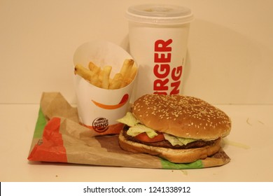 November 25 2018, London Canada: Editorial photograph of a whopper combo from Burgerking on a white background. The whopper is burger kings most popular meal.