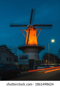 November 25, 2020 The windmill called de hoop in Zoetermeer colored orange. Theme Orange the World is the international campaign against violence against women and girls.