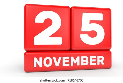 November 25. Calendar on white background. 3D illustration.