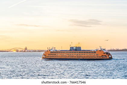 November 26 2017 : View of The Staten Island Ferry is New York City Department of Transportation runs 5.2 miles between the New York City boroughs of Manhattan and Staten Island.