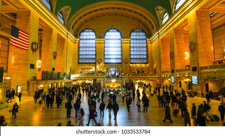 November 27 2017 : View of Commuters and tourists in the grand central station in New York, It is the largest train station in the world .