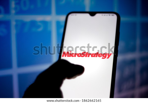 November 27, 2020, Brazil. In this photo illustration the MicroStrategy Incorporated logo seen displayed on a smartphone