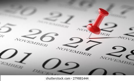 November 27 written on a calendar to remind you an important appointment.