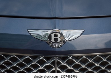 November 28, 2018 - Abu Dhabi, UAE: Close up of a Bentley logo on front of Bentley car