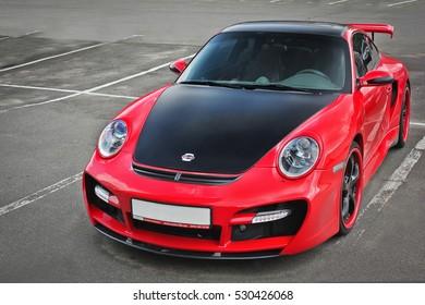 November 3, 2013. Kiev, Ukraine. Porsche 911 Carrera Techart. Red.  Car. Karbon. headlights. Luxurious. Tuning. Supercar. Editorial photo.