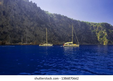 November 3 2016, in Oludeniz, Mugla,Turkey, Batterfly valley and boats