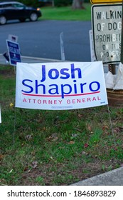 November 3, 2020 - Elkins Park, Pennsylvania: A Josh Shapiro Sign at a Polling Station on Election Day at Elkins Park, Pennsylvania