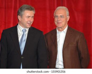 "NOVEMBER 30, 2005 - BERLIN: Klaus Wowereit, Franz Beckenbauer at the official presentation of the ""FIFA World Cup Gala 2006"" in Berlin."