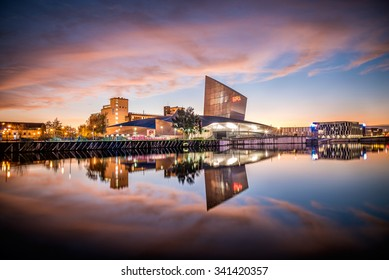 November 30, 2014 - Imperial War Museum on the banks of Manchester Canal in Salford Quays, Manchester.