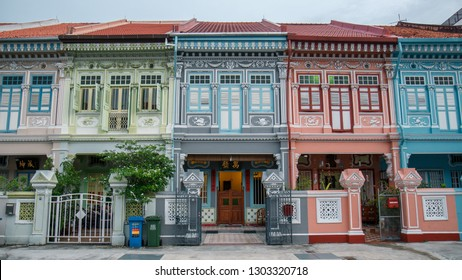 November 30th, 2018. Singapore, Singapore. Colorful pastel color shophouses in Geylang.