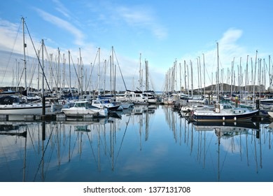 November 4, 2018. Panoramic view of  Irish sailing boats in Port of Howth, County Leinster Dublin Ireland.