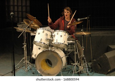 """NOVEMBER 5, 2004 - BERLIN: Constanze Priester as a drummer in the theatre play """"Nellie Goodbye"""", Grips Theater, Berlin."""