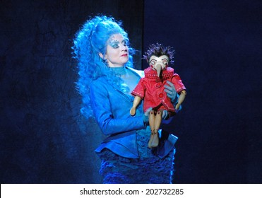 "NOVEMBER 5, 2006 - BERLIN: Susanne Kreusch with Pinocchio puppet at the kids opera ""Pinocchio"", Komische Oper, Berlin-Mitte."