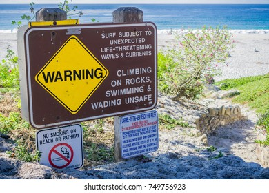 November 5, 2017 Carmel-By-The-Sea/USA - Warning sign at the entrance to Carmel Beach, Monterey Peninsula