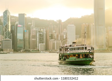 November 5th 2015. The Star Ferry making a crossing in Victoria Harbor.