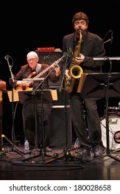 """NOVEMBER 6, 2011 - BERLIN: Steve Swallow, Chris Cheek at the concert of """"The Swallow Quintett"""", Jazzfest 2011, Berlin."""