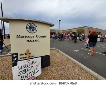 November 6, 2020 - Phoenix, AZ / USA: Trump supporters rally outside of the Maricopa County Tabulation and Election Center (MCTEC) to voice concerns about every vote being counted.