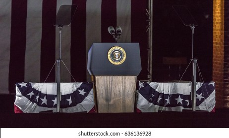 NOVEMBER 7, 2016, INDEPENDENCE HALL, PHIL., PA - Empty Podium with Presidential Seal for Presidents Obama and Clinton and Hillary Clinton Election eve political rally Independence Hall, Phil. PA