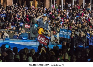 """NOVEMBER 7, 2016, INDEPENDENCE HALL, Musician Bruce Springsteen performs at an election eve rally for Hillary Clinton featuring Bill and Chelsea Clinton, Barack and Michelle Obama and """"the boss."""""""