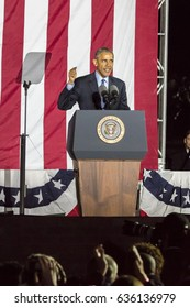 NOVEMBER 7, 2016, INDEPENDENCE HALL, PHIL., PA - President Barack Obama speaks at Hillary Clinton Election Eve Get Out The Vote Rally, Independence Hall, Phil. PA
