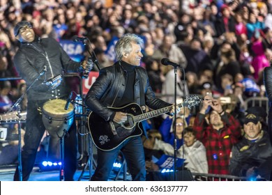 """NOVEMBER 7, 2016, INDEPENDENCE HALL, Musician Jon Bon Jovi performs at an election eve rally for Hillary Clinton featuring Bill and Chelsea Clinton, Barack and Michelle Obama and """"the boss."""""""