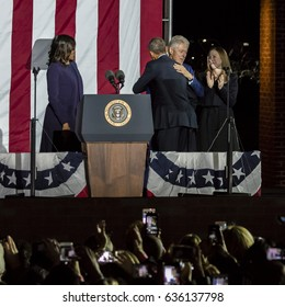 NOVEMBER 7, 2016, INDEPENDENCE HALL, PHIL., PA -  Bill and Chelsea Clinton Mezvinsky and First Lady Michelle Obama welcome President Obama at Election Eve Get Out The Vote Rally, Independence Hall.