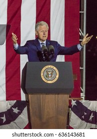 NOVEMBER 7, 2016, INDEPENDENCE HALL, PHIL., PA - PHILADELPHIA, PA - NOVEMBER 07: President Bill Clinton speaks at Independence Hall on November 7, 2016 in Philadelphia, Pennsylvania.